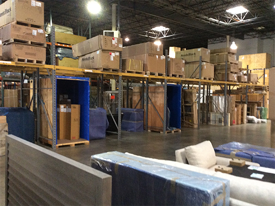 Deliveries organized in the All America Moving Warehouse